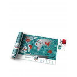 Stírací mapa světa v tyrkysovo-stříbrné Travel Map