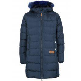 Tmavě modrý holčičí prošívaný kabát s umělým kožíškem 5.10.15.