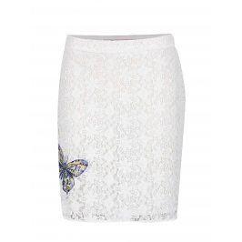 Bílá krajková sukně s nášivkou Desigual Cullera