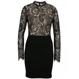 Béžovo-černé krajkované šaty s dlouhým rukávem MISSGUIDED