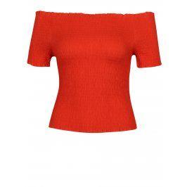 Červený crop top s odhalenými rameny VERO MODA Mock