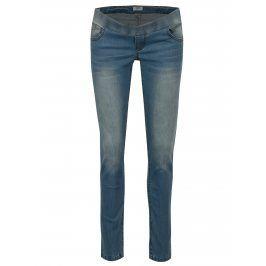 Světle modré těhotenské slim džíny s vyšisovaným efektem Mama.licious Soul