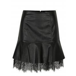 Černá koženková sukně s krajkou VERO MODA Lucia
