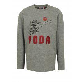 Tmavě šedé klučičí tričko s potiskem a výšivkou Star Wars Lego Wear Teo