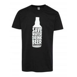 Černé pánské triko s potiskem Horsefeathers Save Water