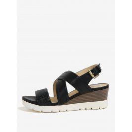 Černé kožené sandály na klínku Geox Marykarmen