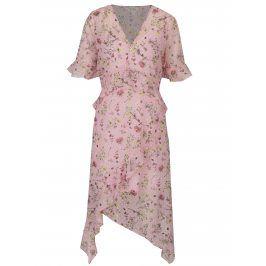 Růžové květované asymetrické šaty s volány Miss Selfridge