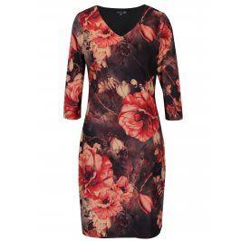Šedo-červené květované šaty s véčkovým výstřihem Smashed Lemon