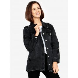 Černá dlouhá džínová bunda s potrhaným efektem MISSGUIDED