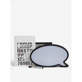 Set bílé LED tabule s fixou ve tvaru bubliny a šablony písmen SIFCON