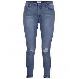 Modré strečové džíny s potrhaným efektem Miss Selfridge