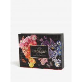 Černý květovaný dárkový set s hracími kartami Galison