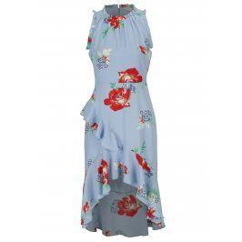 Modré květované šaty s volány Miss Selfridge