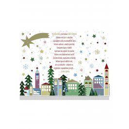 Bílý vánoční plakát  HEZKÝ SVĚT Vánoce
