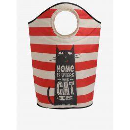 Červeno-béžový pruhovaný koš na prádlo s potiskem kočky Butter Kings