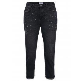 Černé zkrácené mom džíny s vysokým pasem a zdobením Miss Selfridge Petites