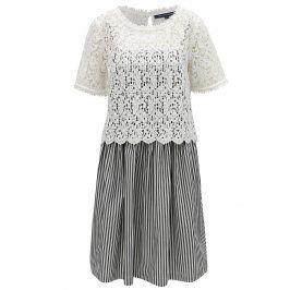 Bílo-černé pruhované šaty na ramínka s krajkovým topem 2v1 French Connection Sardinia