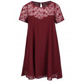 Vínové plus size šaty s průsvitným květovaným sedlem Goddiva