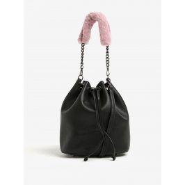 Černá koženková vaková kabelka s odnímatelnými popruhy Nalí