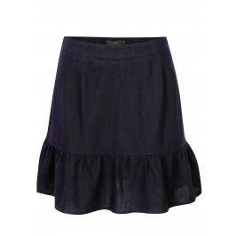 Tmavě modrá lněná sukně VERO MODA Asta