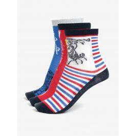 Červeno-modrá sada tří párů klučičích ponožek Lego Wear Aiden