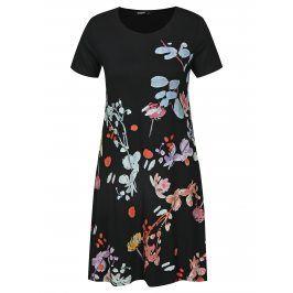 Černé květované šaty s krátkým rukávem Desigual Cicero