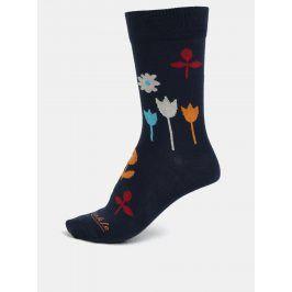 Tmavě modré unisex květované ponožky Fusakle Na lúke