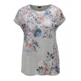 Světle šedé třpytivé dámské tričko s květovaným vzorem M&Co