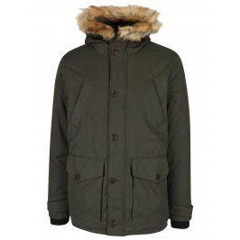 Khaki bunda s kapucí a umělou kožešinou Burton Menswear London