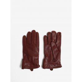 Hnědé pánské kožené rukavice se zipem a kašmírovou podšívkou Royal RepubliQ