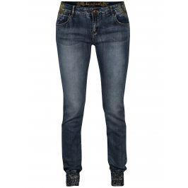 Modré slim džíny s výšivkou Desigual Blue Lysiane