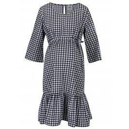 Bílo-černé těhotenské kostkované šaty s 3/4 rukávy Mama.licious Gigi