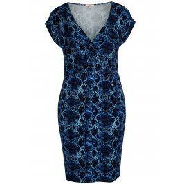 Tmavě modré pouzdrové šaty s hadím vzorem La Lemon