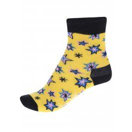 Černo-žluté dětské ponožky s motivem hvězd Happy Socks Bang Bang