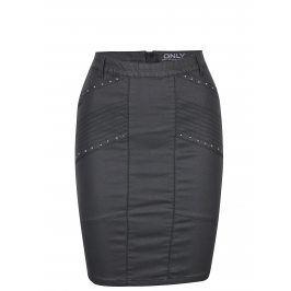 Černá koženková sukně s ozdobnými plastickými detaily ONLY Tough Rock