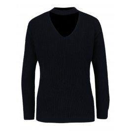Tmavě modrý žebrovaný svetr se stojáčkem Dorothy Perkins