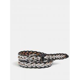 Stříbrno-černý kožený pásek Pieces Daja