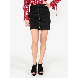 Černá džínová sukně na knoflíky ve zlaté barvě MISSGUIDED