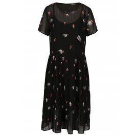 Černé vzorované šaty s plisovanou sukní Selected Femme Fiffi