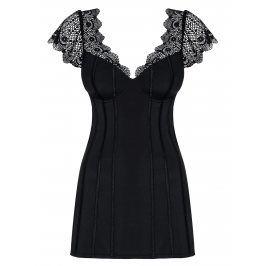 Set noční košilky s krajkovými rukávy a tang v černé barvě Obsessive Moketta chemise