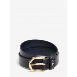 Tmavě modrý kožený pásek s detaily ve zlaté barvě Pieces Jasmin