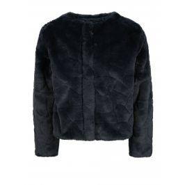 Tmavě modrý holčičí kabát z umělé kožešiny Name it Wamma