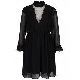 Černé šaty s průsvitnými rukávy a výstřihem VERO MODA Maggi