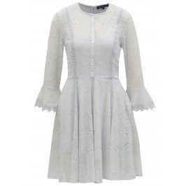 Světle modré šaty s madeirou a 3/4 rukávem French Connection Derna