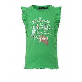Zelené holčičí tílko s potiskem a volány na ramenou Blue Seven