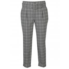 Šedé kostkované zkrácené kalhoty s vysokým pasem a páskem Dorothy Perkins
