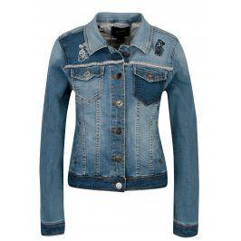 Modrá džínová bunda s nášivkou na zádech Desigual Maria Goeppert