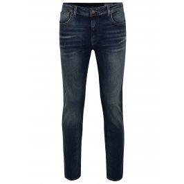 Modré slim fit džíny s vyšisovaným efektem Selected Homme