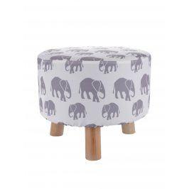 Krémový sedák s potiskem slonů Dakls