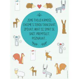 Tyrkysový plakát HEZKÝ SVĚT Zvířátka